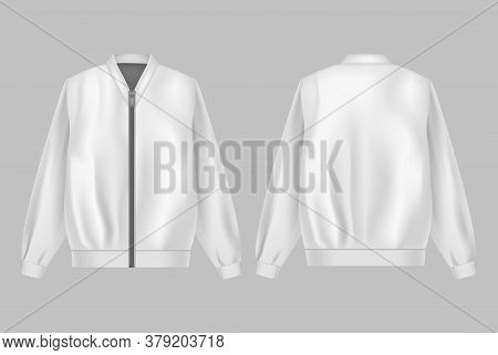 Realistic Detailed 3d White Jacket Bomber Set Symbol Of Windbreaker. Vector Illustration Of Fashion