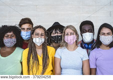 Group Young People Wearing Face Mask For Preventing Corona Virus Outbreak - Millennial Friends With