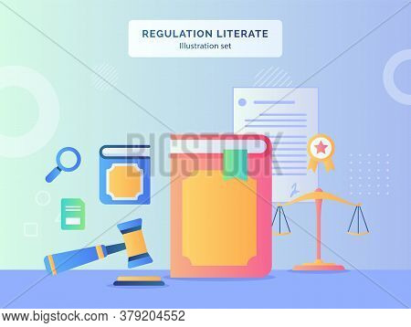 Regulation Literate Illustration Set Book Hammer Background Of Scale Certified Ribbon Document Contr