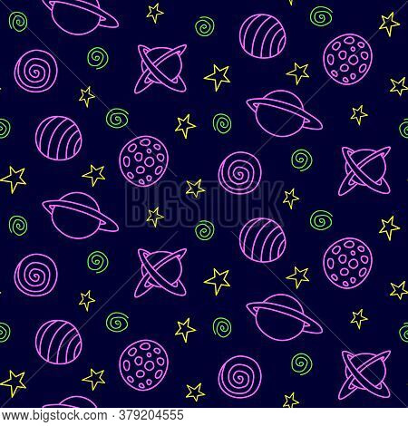Space Seamless Pattern. Cartoon Pink Green Yellow Outline Planets And Stars Isolated On Black Backgr