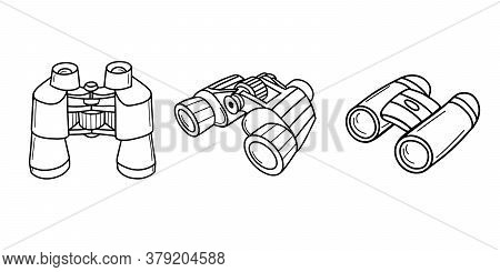 Collection Of Tourist Binoculars. Long-range Vision Device, Optical Image Amplifier Device. An Optic