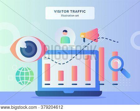 Visitor Traffic Illustration Set Statistic Chart On Monitor Laptop Background Of Globe Eye Focus Meg