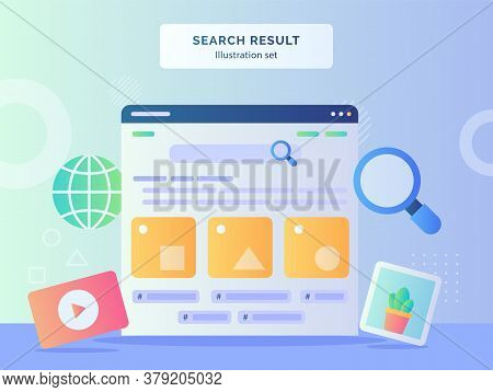 Search Result Illustration Set User Interface In Monitor Computer Background Of Video Picture Globe