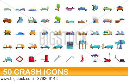 50 Crash Icons Set. Cartoon Illustration Of 50 Crash Icons Vector Set Isolated On White Background