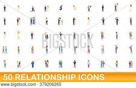 50 Relationship Icons Set. Cartoon Illustration Of 50 Relationship Icons Vector Set Isolated On Whit