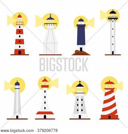 Set Lighthouses With Turned On Searchlights, Flat Vector Illustration Isolated.