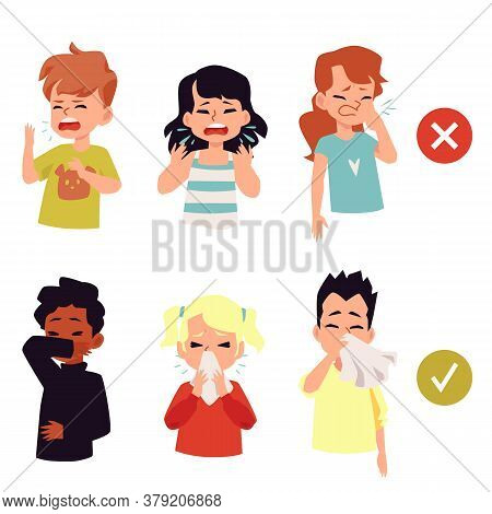 Sick Children Coughing And Sneezing, Flat Vector Illustration Isolated On White.
