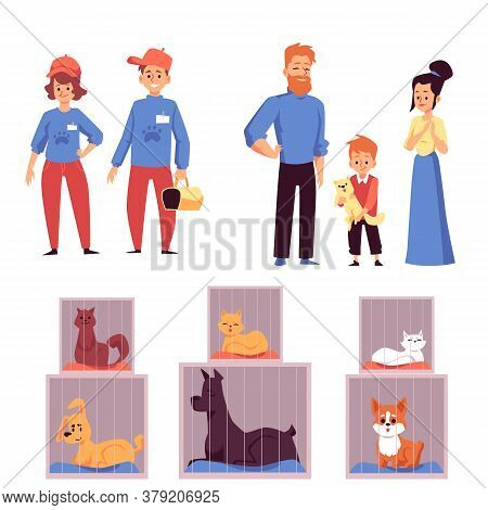 Animals Shelter Volunteers, Visitors And Pets, Flat Vector Illustration Isolated.