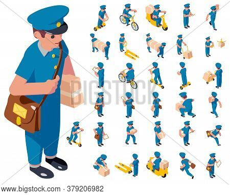 Postman Icons Set. Isometric Set Of Postman Vector Icons For Web Design Isolated On White Background
