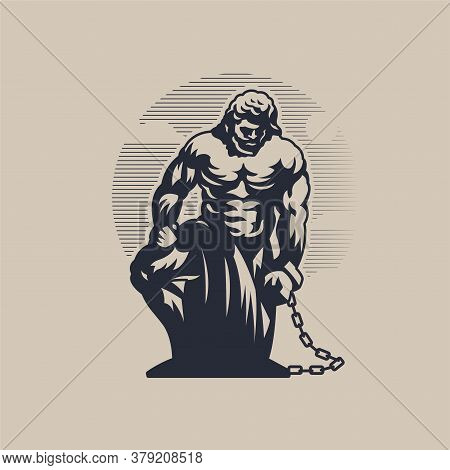 God Prometheus. The Man Is On One Knee And Chained On His Arm.