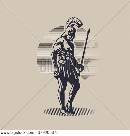 God Ares Or Mars. A Man In A Helmet With A Spear In His Hand.