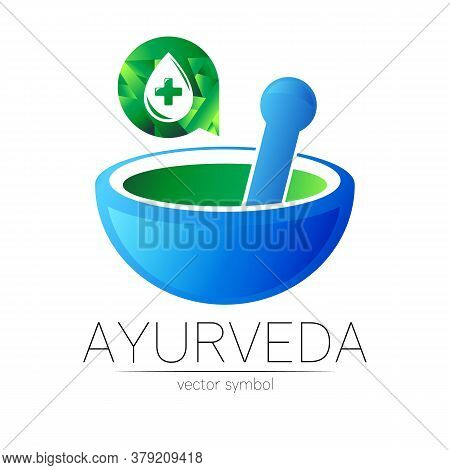 Ayurvedic Creative Vector Logotype Or Symbol. Mortar And Pestle Concept For Ayurveda, Business, Medi