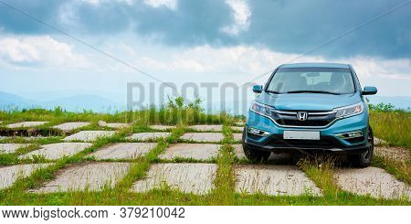 Mnt. Runa, Ukraine - Jun 22, 2019: Honda Cr-v Suv On A Concrete Pavement. Reliable Family Vehicle Co