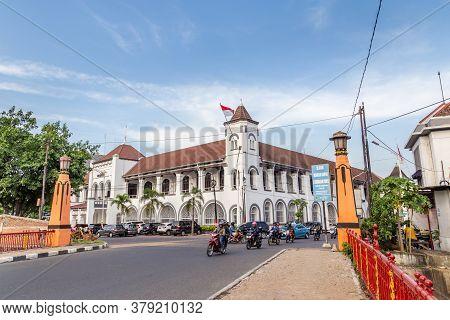 Semarang, Indonesia - October, 31, 2017: Colonial Bridge Jembatan Berok Entering The Old City Of Sem