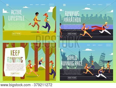 Set Of Banners Or Posters For Sport Running Marathon Flat Vector Illustration.