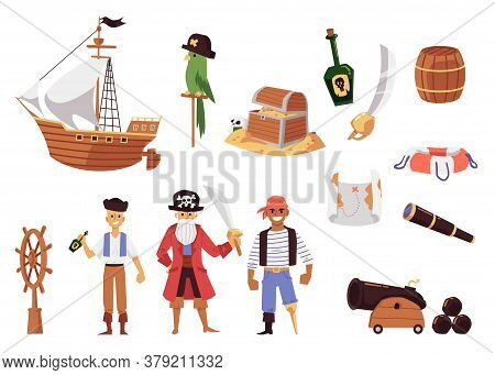 Cartoon Pirate Set - Sailboat Ship, Treasure Chest And Map, Weapons