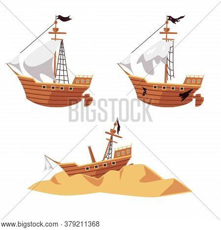 Pirate Ship Wreck Set - New And Old Boat With Black Flag, Shipwreck Parts