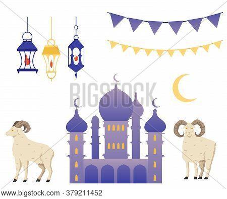 Religious Muslim Holiday Set - Mosque Building, Ramadan Lanterns And Sheep