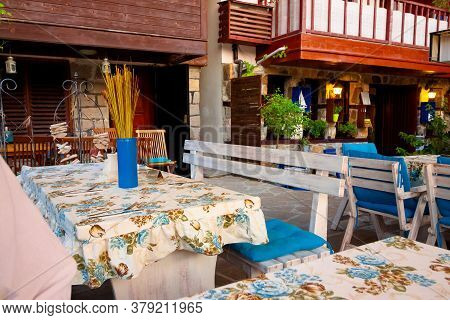 Sozopol, Bulgaria, - Aug 11, 2015: Restaurant At The Seaside. Terrace With No Visitors