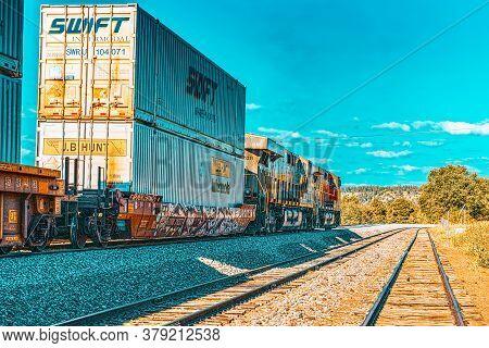 Freight Train Bnsf Railway Companies On A Sunny Day In Arizona.