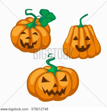Big Orange Pumpkin With Eyes Cut Out Nose And Grin Mouth For Halloween. Jack Lantern A Symbol Of The
