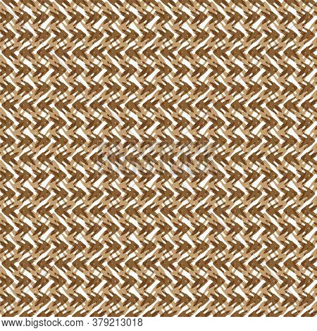 Vector Tribal Arrow Style Grunge Seamless Pattern Background. Painterly Woven Chevrons Brown And Whi