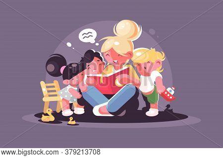 Mom Reads Fairy Tale For Kids. Teacher