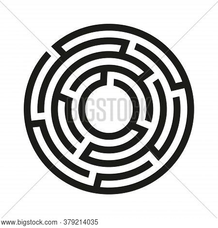 Black Circle Vector Labyrinth Isolated On White Background. Black Round Maze With One Entrance And T