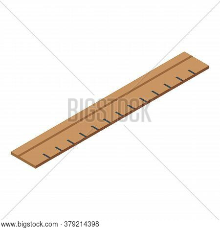 Shoe Repair Wood Ruler Icon. Isometric Of Shoe Repair Wood Ruler Vector Icon For Web Design Isolated