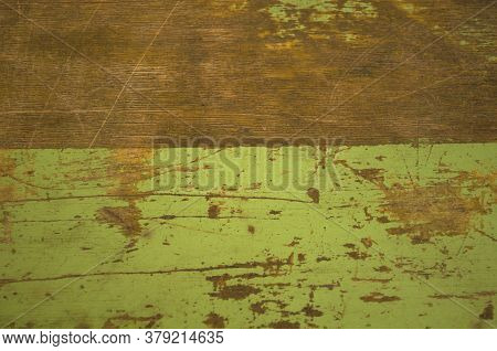 Pastel Green  Shabby Wooden Table  For Wallpaper, Background, Labels. Rare Effect