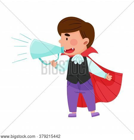 Little Boy Character Dressed In Fancy Costume Talking Megaphone Or Loudspeaker Vector Illustration