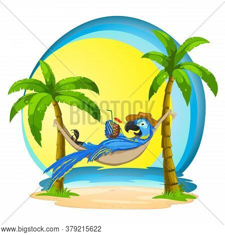 Macaw In A Hammock With A Cocktail On A Tropical Background. Illustration Of A Parrot With The Sea A