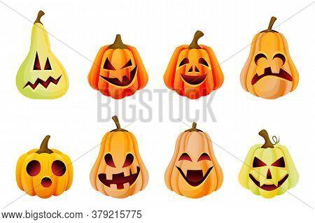 Halloween Spooky Emotion Pumpkins Icons Collection. Vector Flat Cartoon Illustration. Jack O Lantern