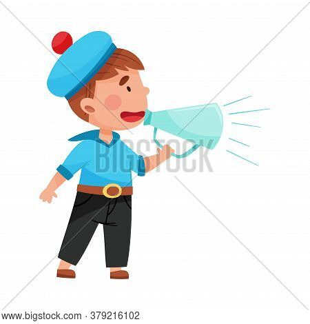 Funny Boy Character Dressed In Seaman Costume Talking Megaphone Or Loudspeaker Vector Illustration