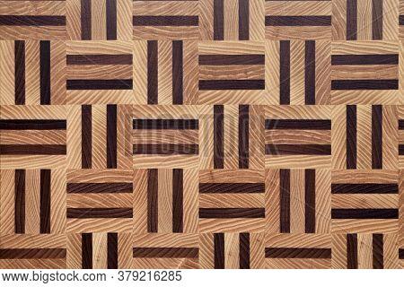 Wooden Butcher Chopping Block Pattern Close Up. Natural Brand New End Grain Hard Wood Cutting Board