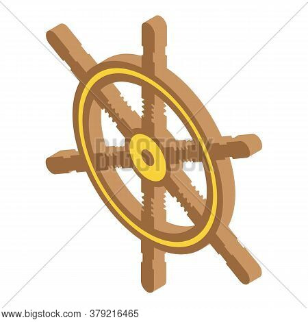 Adventure Ship Wheel Icon. Isometric Of Adventure Ship Wheel Vector Icon For Web Design Isolated On