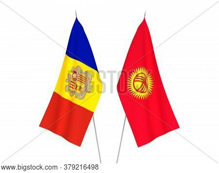 National Fabric Flags Of Kyrgyzstan And Andorra Isolated On White Background. 3d Rendering Illustrat