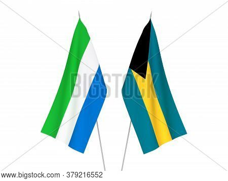 National Fabric Flags Of Sierra Leone And Commonwealth Of The Bahamas Isolated On White Background.