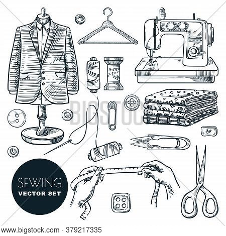 Tailored Fashionable Mens Suit. Sewing Tailor Tools Vector Hand Drawn Sketch Illustration. Business