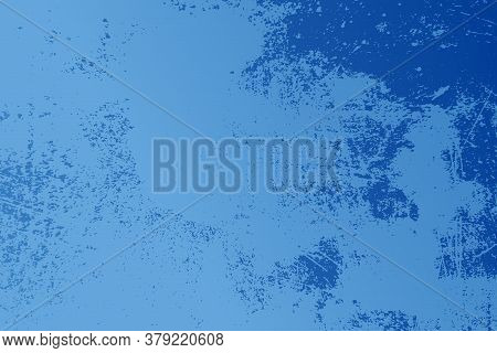 Aging Blue Textured Template. Vintage Grunge Gradient Background On Light Backdrop. Abstract Old Gru
