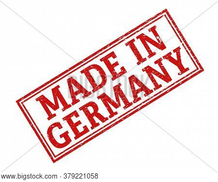 Stamp With The Inscription Made In Germany, Isolated On A White Background,
