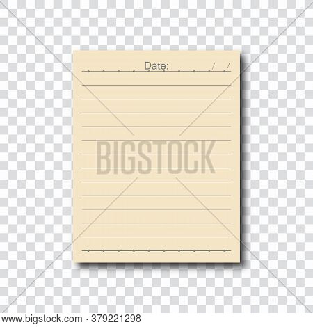 Note Paper On Transparent Background. Lined Paper For Office Text Or Business Messages With Date