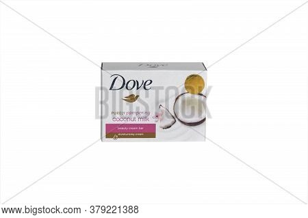 Kharkov, Ukraine - March 4, 2020 : Isolated Dove Soap With Coconut Milk. Introduced To The British M