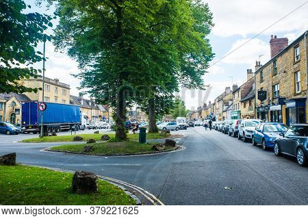 July 19 2020  Moreton-in-marsh, Cotswolds England - The Corner Of High Street And Oxford Street, Mor