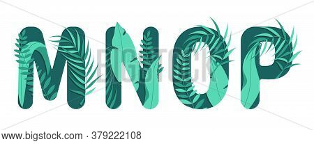 Vector Letters M N O P Of The Alphabet. Leaf Design.