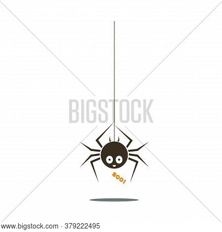 Black Spider. Halloween Funny Childish Spider Hanging From The Top With Cute Smiley Face And Text Bo