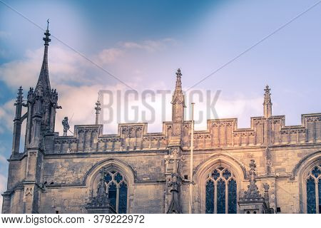 July 19 2020 Gloucester England - Exterior Of The Famous Gloucester Cathedral, England