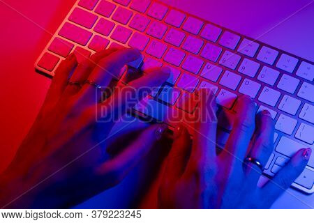 Woman Working On Laptop Computer From Home. Business  People Lifestyle. Woman Typing On Laptop Compu