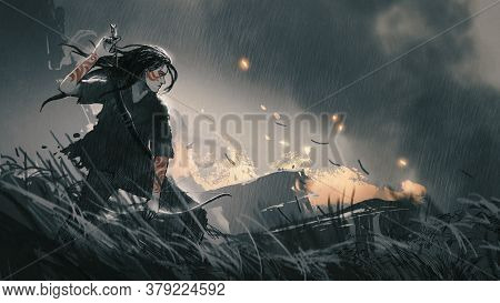 A Female Hunter With Bow In Battlefield, Digital Art Style, Illustration Painting