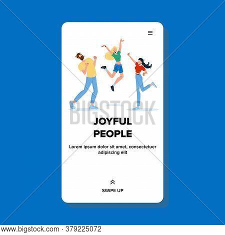 Joyful People Celebrate Dancing And Jumping Vector Illustration